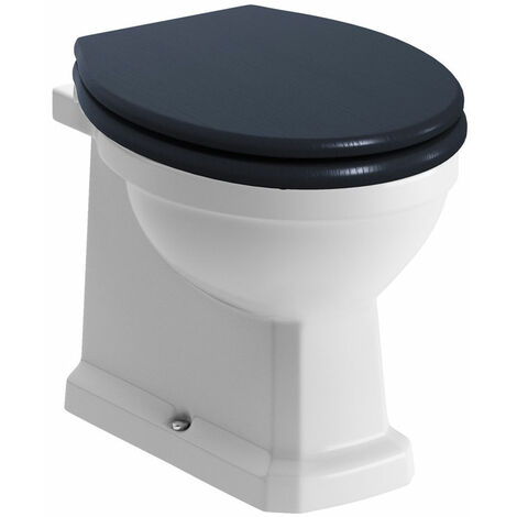 Signature Aphrodite Back To Wall Toilet 535mm Projection - Indigo Ash Wooden Effect Seat