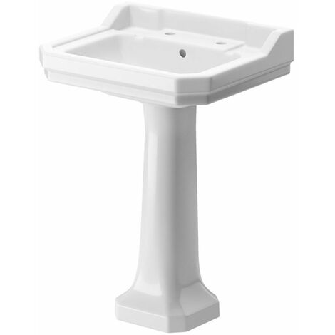 Signature Aphrodite Basin and Full Pedestal 600mm Wide - 2 Tap Hole