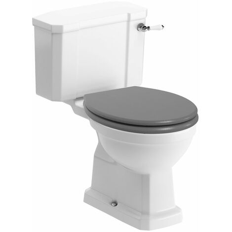 Signature Aphrodite Close Coupled Toilet with Lever Cistern - Grey Ash Soft Close Seat