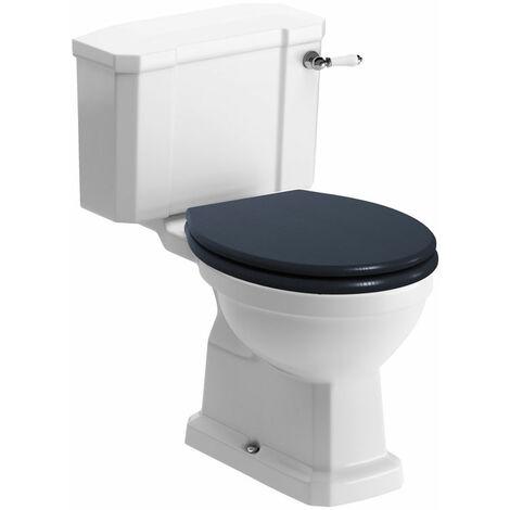 Signature Aphrodite Close Coupled Toilet with Lever Cistern - Indigo Ash Soft Close Seat