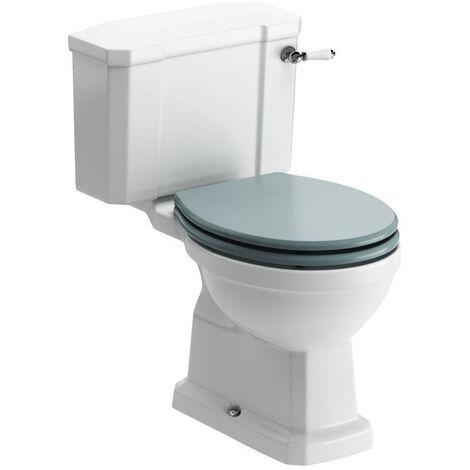 Signature Aphrodite Close Coupled Toilet with Lever Cistern - Sea Green Ash Soft Close Seat
