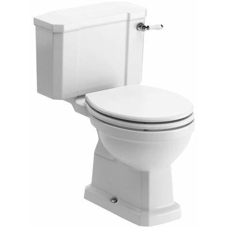Signature Aphrodite Close Coupled Toilet with Lever Cistern - White Ash Soft Close Seat