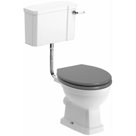 Signature Aphrodite Low Level Toilet with Lever Cistern - Grey Ash Soft Close Seat