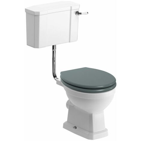 Signature Aphrodite Low Level Toilet with Lever Cistern - Sea Green Ash Soft Close Seat