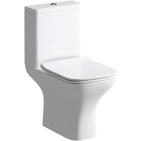 Signature Aztec Close Coupled Toilet with Push Button Cistern - Slimline Soft Close Seat