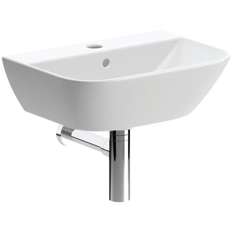 Signature Aztec Wall Hung Cloakroom Basin and Bottle Trap 450mm Wide - 1 Tap Hole