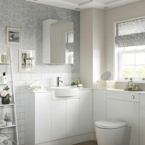 Signature Bergen 2-Door Mirrored Bathroom Cabinet 500mm Wide - White Gloss