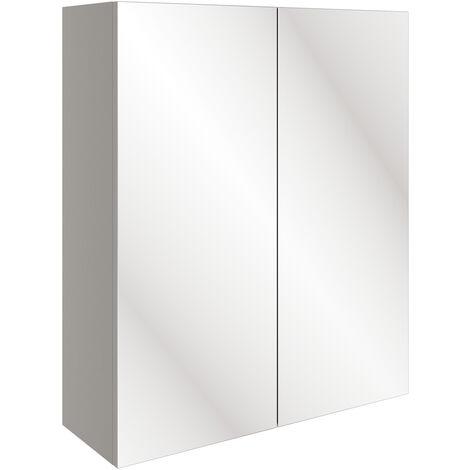 Signature Bergen 2-Door Mirrored Bathroom Cabinet 600mm Wide - Pearl Grey Gloss