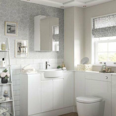 Signature Bergen 2-Door Mirrored Bathroom Cabinet 600mm Wide - White Gloss