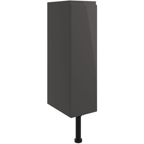 Signature Bergen Floor Standing 1-Door Toilet Roll Unit 200mm Wide - Onyx Grey Gloss