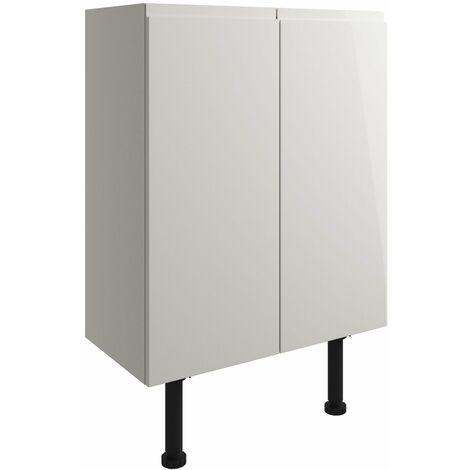 Signature Bergen Floor Standing 2-Door Base Unit 600mm Wide - Pearl Grey Gloss