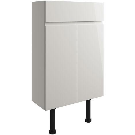 Signature Bergen Floor Standing 2-Door Slim Vanity Unit 500mm Wide - Pearl Grey Gloss
