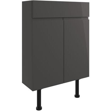 Signature Bergen Floor Standing 2-Door Slim Vanity Unit 600mm Wide - Onyx Grey Gloss