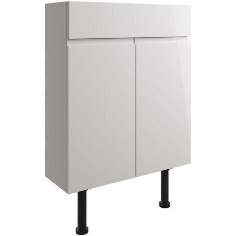 Signature Bergen Floor Standing 2-Door Slim Vanity Unit 600mm Wide - Pearl Grey Gloss