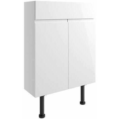 Signature Bergen Floor Standing 2-Door Slim Vanity Unit 600mm Wide - White Gloss