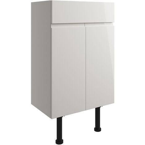 Signature Bergen Floor Standing 2-Door Vanity Unit 500mm Wide - Pearl Grey Gloss