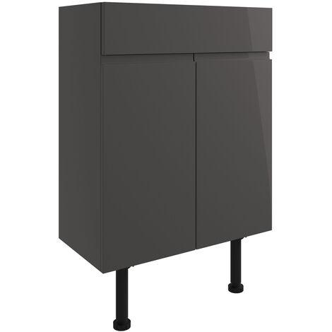 Signature Bergen Floor Standing 2-Door Vanity Unit 600mm Wide - Onyx Grey Gloss