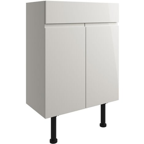 Signature Bergen Floor Standing 2-Door Vanity Unit 600mm Wide - Pearl Grey Gloss