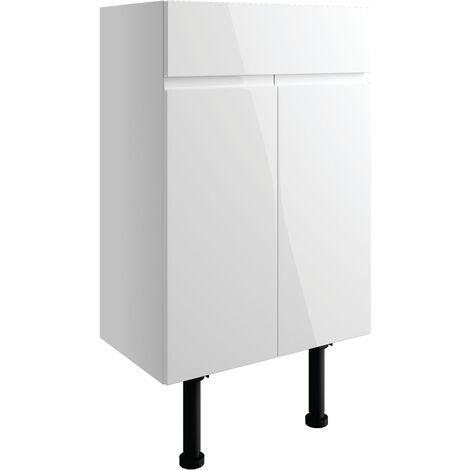 Signature Bergen Floor Standing 2-Door Vanity Unit 600mm Wide - White Gloss
