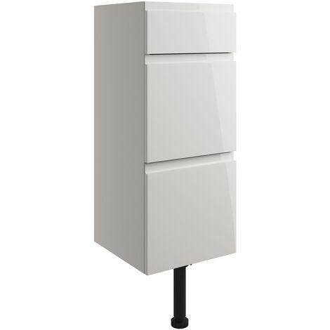 Signature Bergen Floor Standing 3-Drawer Storage Unit 300mm Wide - Pearl Grey Gloss