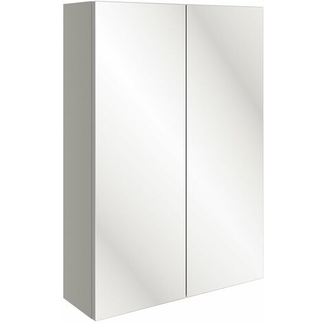 Signature Bergen Slim 2-Door Mirrored Bathroom Cabinet 500mm Wide - Pearl Grey Gloss