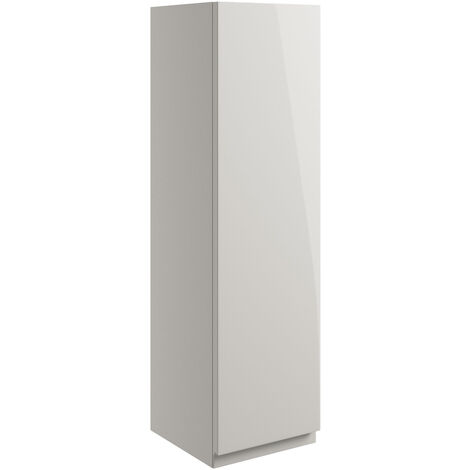 Signature Bergen Wall Hung 1-Door Storage Unit 200mm Wide - Pearl Grey Gloss
