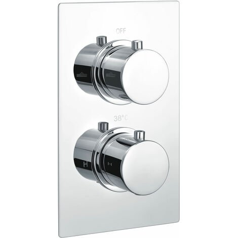 Signature Circa Thermostatic Round 1 Outlet Concealed Shower Valve Dual Handle - Stainless Steel
