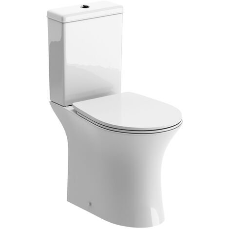 Signature Close Coupled Rimless Toilet with Push Button Cistern - Soft Close Seat