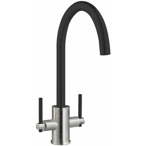Signature Coloured Swan Neck Dual Lever Kitchen Sink Mixer Tap - Black