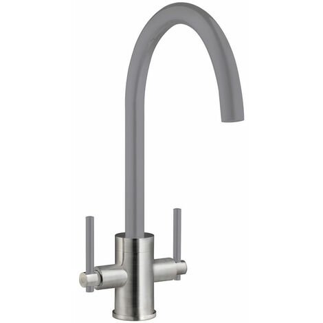 Signature Coloured Swan Neck Dual Lever Kitchen Sink Mixer Tap - Grey