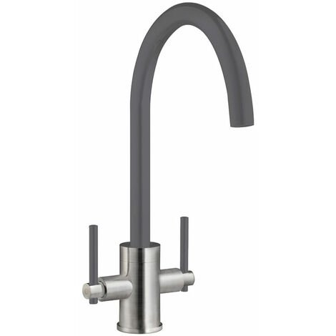 Signature Coloured Swan Neck Dual Lever Kitchen Sink Mixer Tap - Gun Metal