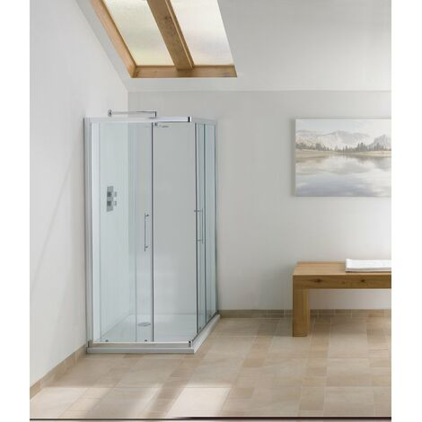 Signature Contract Corner Entry Shower Enclosure 1830mm H x 750mm W - 6mm Glass
