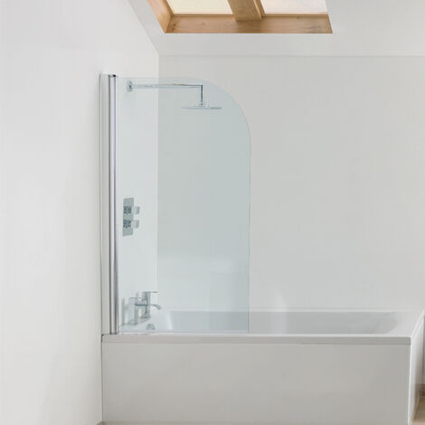 Signature Contract Curved Bath Screen 1400mm H x 770-785mm W - 6mm Glass