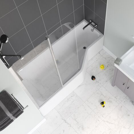 Signature Contract Curved Hinged Bath Screen 1400mm H x 950mm W - Silver