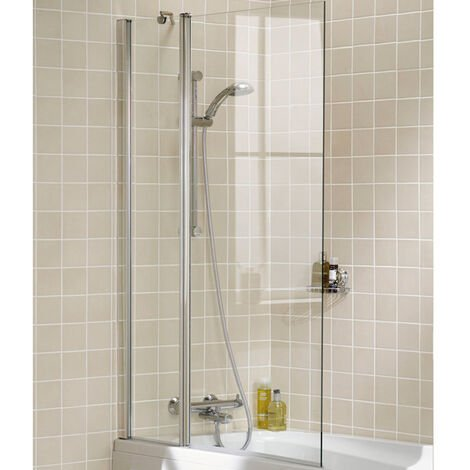 Signature Contract Double Panel Square Bath Screen 1500mm H x 944mm W - 6mm Glass
