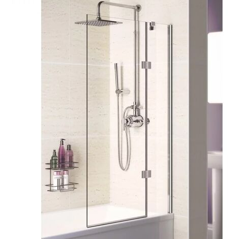 Signature Contract Hinged Bath Screen 1500mm H x 900mm W - Right Handed