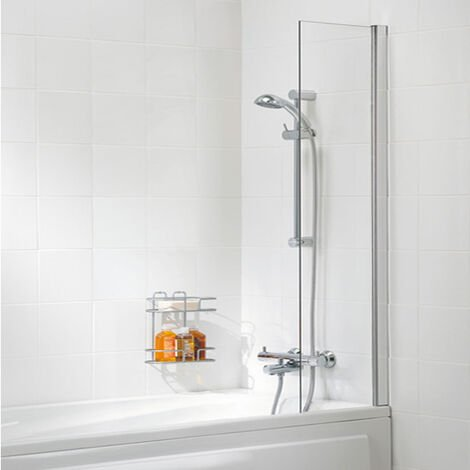 Signature Contract Shower Curtain Panel Bath Screen 1500mm H x 300mm W - Silver