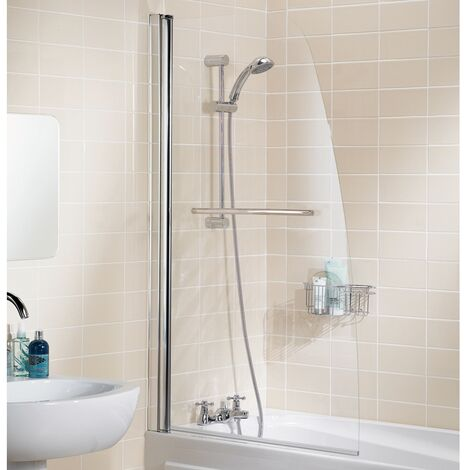 Signature Contract Single Panel Sculpted Bath Screen with Towel Rail 1400mm H x 860mm W - 6mm Glass