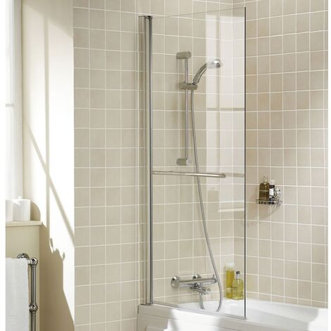 Signature Contract Single Panel Square Bath Screen with Towel Rail 1500mm H x 800mm W - 6mm Glass