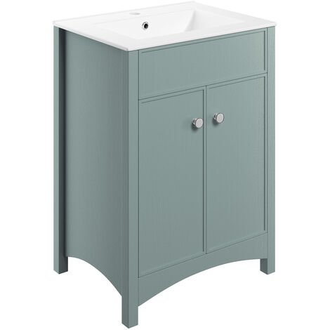 Signature Copenhagen Floor Standing 2-Door Vanity Unit with Basin 610mm Wide - Sea Green Ash