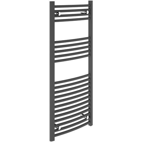 Signature Curved Heated Towel Rail 1200mm High x 500mm Wide - Anthracite