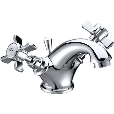 Signature Eterno2 Basin Mixer Tap Dual Handle with Click Clack Waste - Chrome