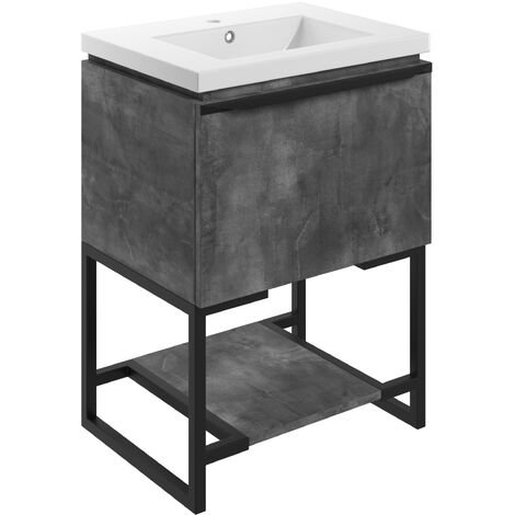 Signature Floor Standing 1-Drawer Vanity Unit with Basin and Frame 615mm Wide - Grey Metal