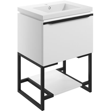Signature Floor Standing 1-Drawer Vanity Unit with Basin and Frame 615mm Wide - Matt White