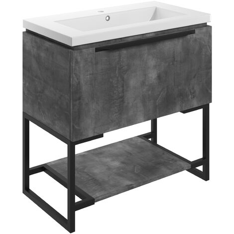 Signature Floor Standing 1-Drawer Vanity Unit with Basin and Frame 815mm Wide - Grey Metal