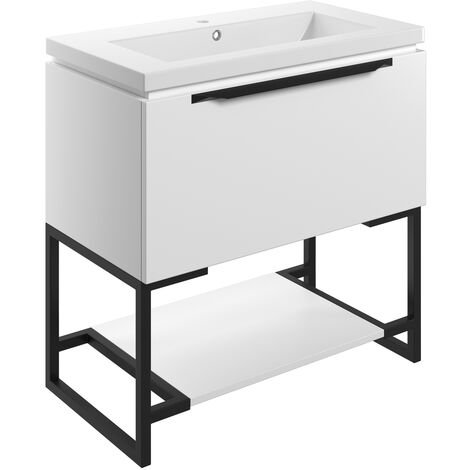 Signature Floor Standing 1-Drawer Vanity Unit with Basin and Frame 815mm Wide - Matt White