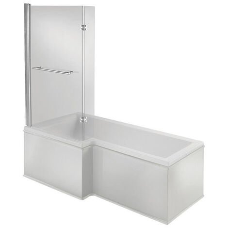 Signature Hermes L-Shaped Shower Bath with Front Panel and Screen 1500mm x 700mm/850mm Left Handed