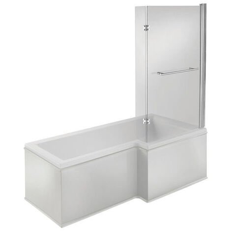 Signature Hermes L-Shaped Shower Bath with Front Panel and Screen 1500mm x 700mm/850mm Right Handed