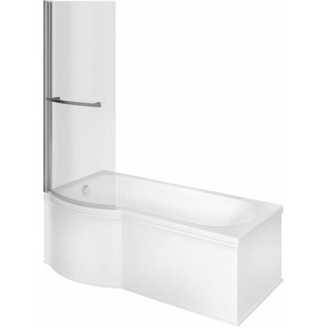Signature Hermes Supercast P-Shaped Shower Bath with Front Panel and Screen 1675mm x 700mm/800mm LH