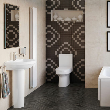 Signature Inca Bathroom Suite Close Coupled Toilet and Basin 500mm - 1 Tap Hole